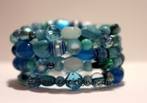 Shades of Blue Memory Wire Wrap Bracelet