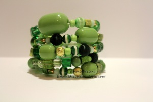 Shades of Green Memory  Wire Bracelet
